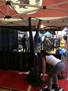 Laurie at the Pilgrimman Booth Tri-Erg Challenge at TRI-MANIA 2016
