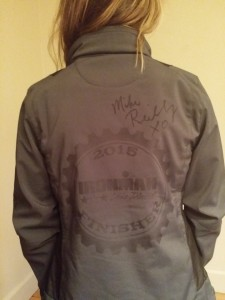 Michelle's Ironman Lake Placid Finisher Jacket Autographed by Mike Reilly
