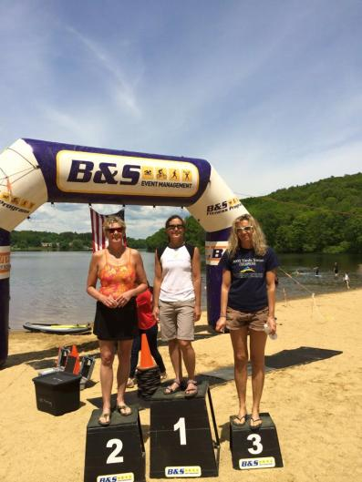 Laurie on the podium at LandShark Swim 2016
